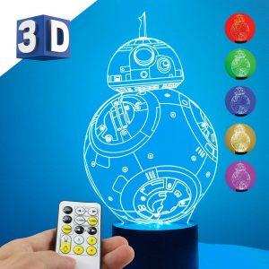 3D LED dečija noćna lampa BB8 Star Wars