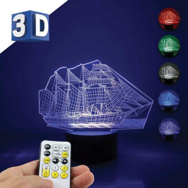 3D LED dečija noćna lampa Brod