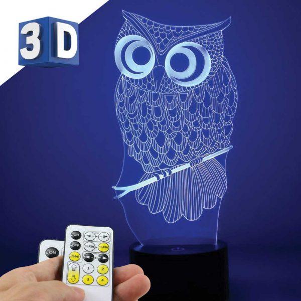 3D LED noćna dečija lampa Sova