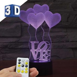 3D LED noćna lampa za decu Srca