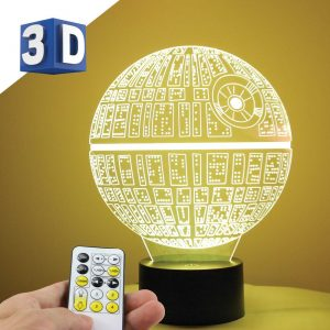 3D LED noćna lampa za decu zvezda smrti